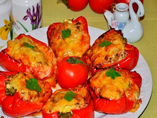 перец фаршированный грибами и курицей в духовке рецепт